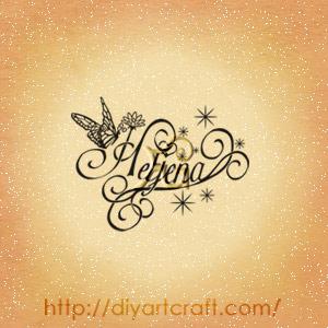 Nome femminile Hetjena in stile elegante con fiori, scintille, riccioli e farfalla.