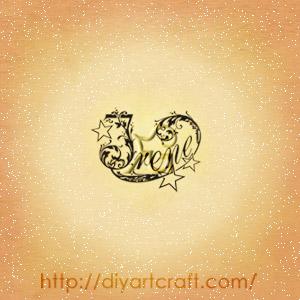 Nome femminile Irene disegnato con piccole stelle grafiche stile elegante.