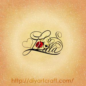 Nome femminile stile elegante Lilla con lettere corsive, cuore e coccinella rossa.