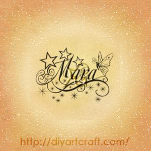 Nome femminile Mara disegnato tra  stelle, riccioli e scintille con farfalla stilizzata.