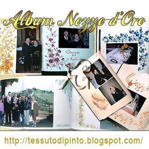 Pittura su pagine di album dedicato alle Nozze Oro collage con diversi soggetti floreali e foto.