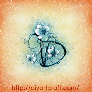 Monogramma lettere intrecciate VD in stile floreale con orchidea bianca.