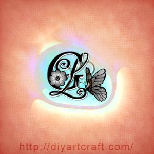Lettere maiuscole intrecciate GL monogramma in stile floreale con farfalla e quadrifoglio.