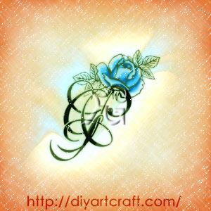 Grande rosa blu sul monogramma fGP illustrazione in stile floreale.