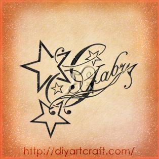 Nome diminutivo stile elegante Gabry disegno tattoo con stelle e riccioli.
