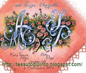 Arazzo dipinto a mano con stemma di famiglia AMT + IP creato per Nozze d'Argento.