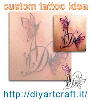 Custom tattoo idea: Monogramma lettere DA con farfalla. Disegno e foto del tatuaggio eseguito.
