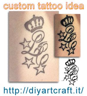Custom tattoo idea: Corona e stelle acronimo LC disegno e foto del tatuaggio eseguito.