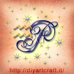 Segno grafico zodiacale Acquario maiuscola P idea tattoo con scintille