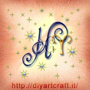 Simbolo grafico del segno zodiacale Ariete abbinato alla lettera stilizzata H disegno artistico per tattoo