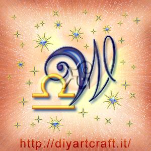 Segno zodiacale Bilancia in composizione artistica con la maiuscola W
