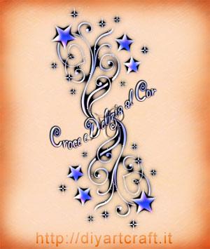 Illustrazione decorativa della frase: Croce e delizia al cor. Parole tratte dal libretto dell'Opera lirica Traviata di Giuseppe Verdi.