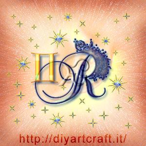 Segno zodiacale Gemelli insieme alla maiuscola R corsiva per tattoo artistico