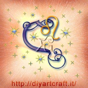 Simbolo grafico astratto del segno zodiacale Leone insieme alla lettera C maiuscola corsiva