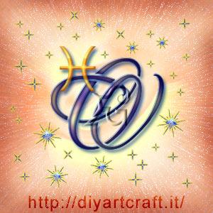 Segno zodiacale Pesci con la maiuscola O e tante scintille luminose.