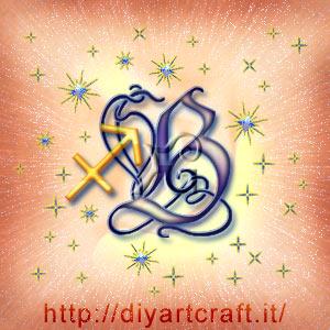 Segno zodiacale Sagittario in abbinamento alla lettera B stilizzata
