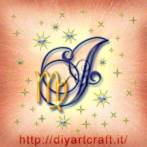 Segno zodiacale Vergine accostato alla maiuscola J al centro di tante scintille
