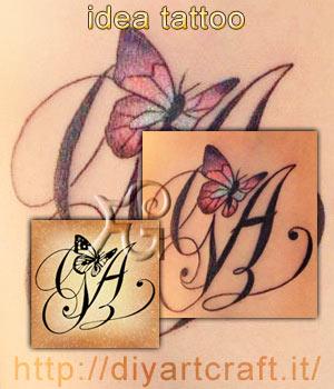 Poster informativo: disegno con farfalla stilizzata su acronimo GA e foto del tatuaggio eseguito.