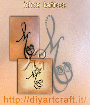 Collage disegno e tatuaggio inciso: Simbolo infinito stilizzato su maiuscola M.