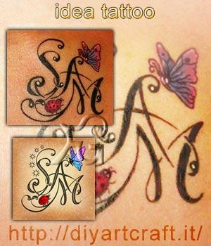 Idea tattoo: Farfalla e coccinella su stemma SAM. Disegno e tatuaggio inciso sulla pelle.