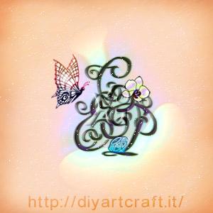 Trittico lettere intrecciate ECP con orchidea, diamante e farfalla simboli grafici a colori.