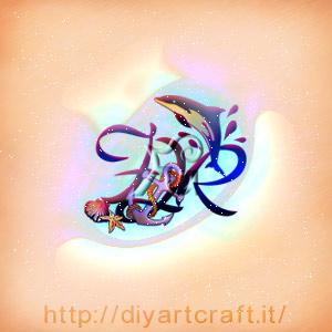 Lettere nascoste FJR con delfini, ancora e conchiglie per stemma misterioso.