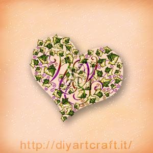 Elaborazione grafica delle maiuscole NYS nascoste nella forma a cuore disegnata da foglie di edera a colori. Fregio misterioso.