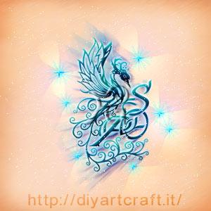 Composizione artistica con maiuscole intrecciate SOP araba fenice stilizzata e scintille.