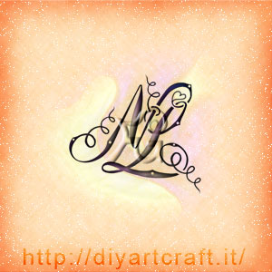 Monogramma NL lettere corsive artistiche.