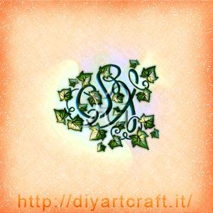 Monogramma SX lettere corsive e edera a colori.