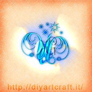 Scintille decorative sulle lettere intrecciate UU disegnate in stile unisex.