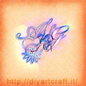Fiore di loto su stemma AFFG lettere intrecciate a colori.