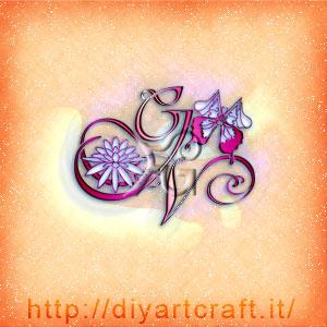 Lettere intrecciate GAAV con fiore di loto e maiuscole mimetizzate nelle ali di farfalla.
