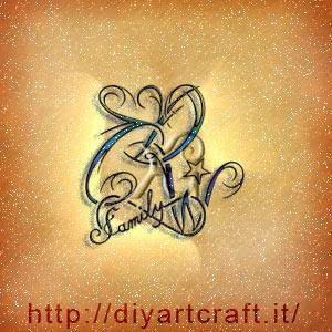 Scritta family sul simbolo infinito nel trittico CDW logo di famiglia.