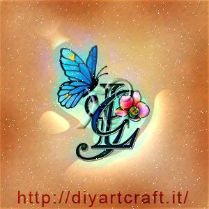 Acronimo GL disegno a colori con simboli evocativi farfalla e orchidea a colori.