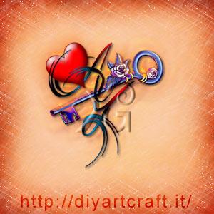 Acronimo AY rebus per messaggi romantici con cuore rosso e chiave stilizzata.