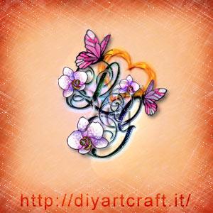Lettere stilizzate LG rebus per messaggi nascosti floreali con cuore, orchidee e farfalle.