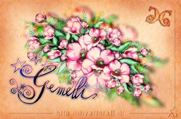 Disegno floreale anemoni per il segno dei Gemelli scritto in stile calligrafico a colori.