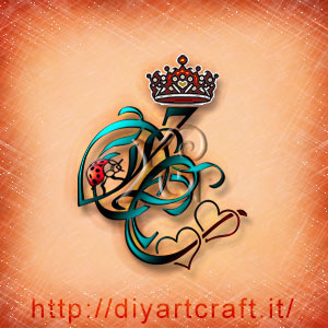 Lettere stilizzate OC rebus per  messaggi propositivi con cuori, coccinella e corona regale.