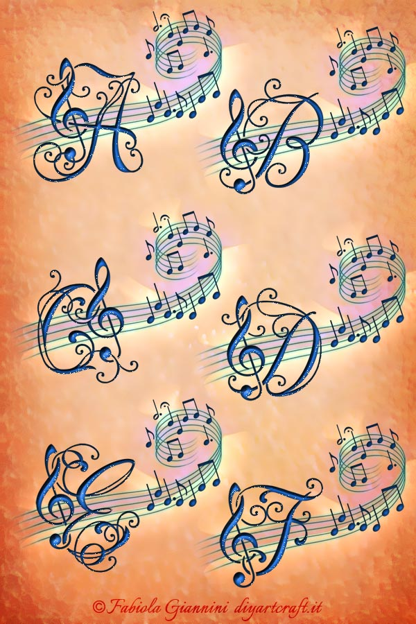 Poster Alfabeto musicale: 6 maiuscole decorative con chiave di violino e note musicali: A-B-C-D-E-F