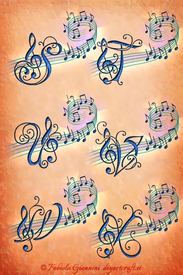 Lettere corsive S-T-U-V-W-X  con chiave di violino sul pentagramma: idea tattoo Alfabeto musicale.