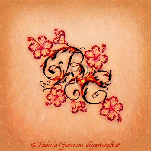 Fiori di hibiscus sul logo con lettere BC stile floreale per i mestieri legati al giardinaggio.