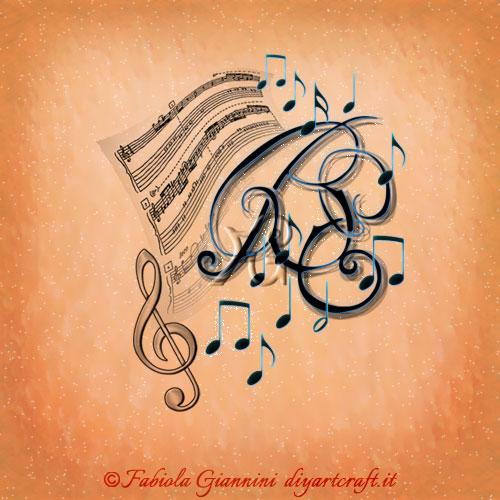 Pentagramma, chiave di violino e note musicali simboli grafici che circondano le lettere intrecciate BE idea logo per professionisti della musica e cantanti.