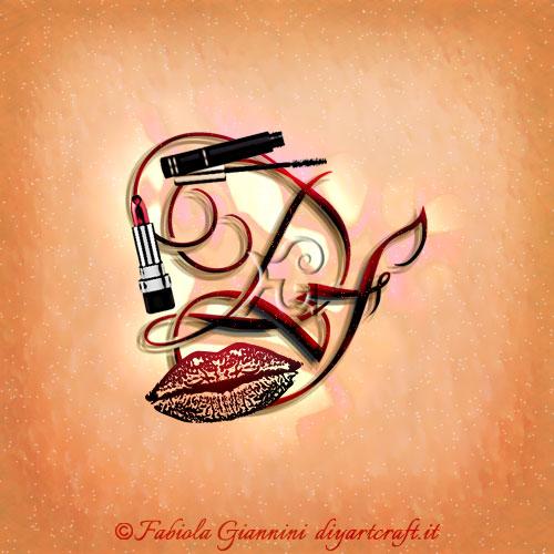 Dedicato ai mestieri che ruotano intorno al tema della bellezza come estetiste e makeup-artist il logo con lettere DF contiene diversi simboli evocativi: un rossetto, un mascara e il disegno di labbra stilizzate.