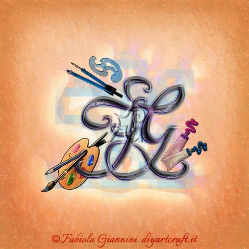 Logo FG lettere intrecciate tra pennelli, colori, compasso e righello simboli grafici adatti alle professioni di pittori e artisti del disegno.