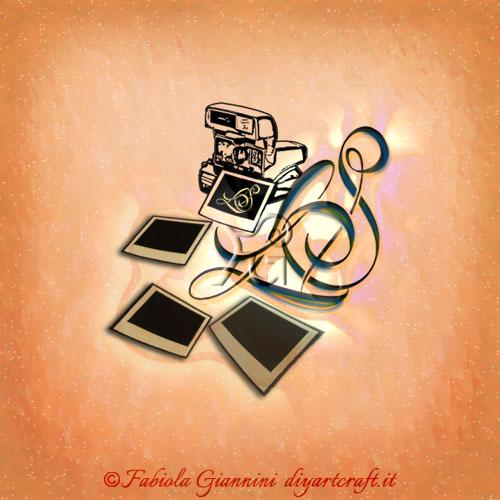 Lettere intrecciate LS in stile corsivo idea logo con macchina fotografica e pellicole istantanee dedicato ai professionisti della fotografia istantanea.