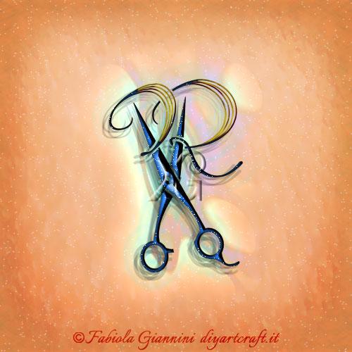 Logo lettere stilizzate PR mimetizzate nel simbolo evocativo forbice per rappresentare i mestieri degli stilisti dei capelli e i barbieri.