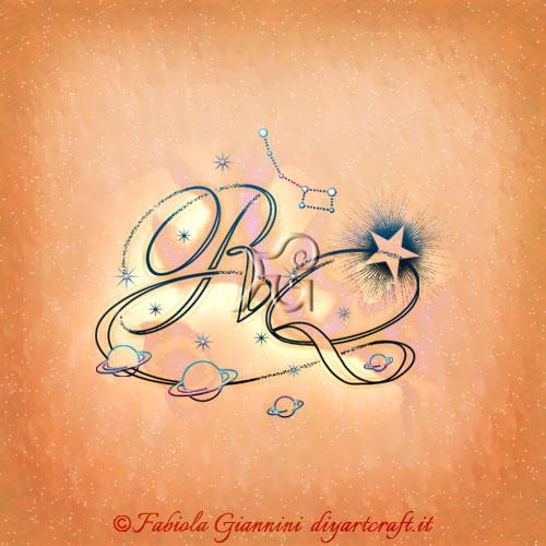 Logo lettere RQ stilizzate con simboli astronomici: stelle, pianeti e costellazioni per professionisti astronomi.