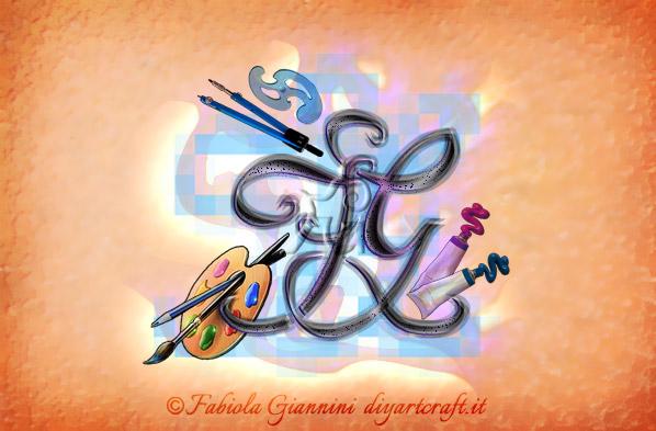 Acronimo lettere intrecciate FG con simboli grafici del mestiere di pittore: tavolozza, pennelli, colori e compasso