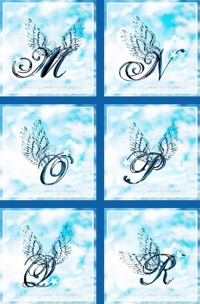 M-N-O-P-Q-R: 6 maiuscole con ali stilizzate